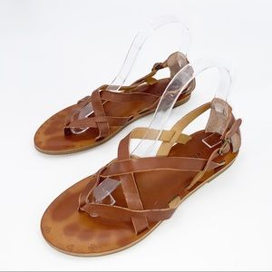 LUCKY BRAND Brown Strap Leather Thong Sandals Sz 8
